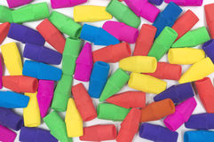 Brightly Colored Pencil Erasers Background Stock Photo