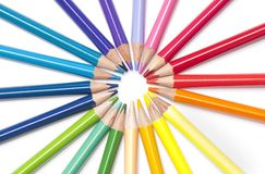 Brightly colored pencils in a circle Stock Photography
