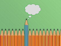 Brightly colored pencils and speech bubble. Stock Photos