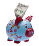 Brightly Colored Piggy Bank with Money Stock Photography