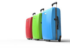 Brightly colored polycarbonate travel suitcases Stock Photo