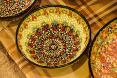 Brightly colored porcelain bowls Royalty Free Stock Photography