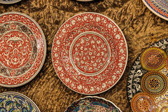 Brightly colored porcelain bowls Royalty Free Stock Images