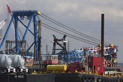 Brightly colored port loading equipment, New York and New Jersey Port Authority, New Jersey, USA Royalty Free Stock Photography