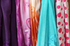 Brightly colored scarfs and veils Stock Image