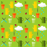 Brightly colored seamless pattern background on the theme of gardening Stock Photo