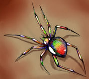 Brightly colored spider. Hand drawn ink sketch of a spider brightly colored in acid green, red, blue and yellow Royalty Free Stock Images