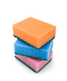 Brightly colored sponges on white background Royalty Free Stock Photos