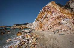 Brightly colored stones at Firiplaka beach, Milos, Greece Stock Photography