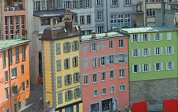Brightly Colored street buildings. Brightly Colored buildings in Lausanne, Switzerland Royalty Free Stock Photo