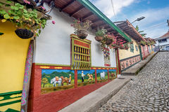 Brightly colored street in Guatape, Colombia.  Stock Photography
