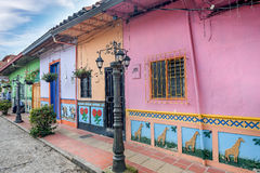 Brightly colored street in Guatape, Colombia.  Stock Photos