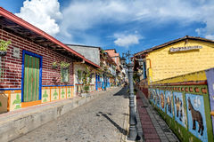 Brightly colored street in Guatape, Colombia.  Stock Image