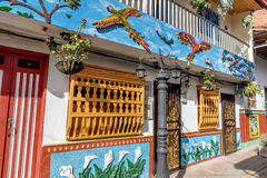 Brightly colored street in Guatape, Colombia.  Stock Images