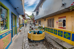 Brightly colored street in Guatape, Colombia. Guatape, Colombia- March 6, 2017: Brightly colored street in Guatape, Colombia Royalty Free Stock Image