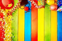 Brightly colored striped wood carnival background stock images