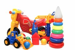 Brightly colored toys on a white background isolated. stock image