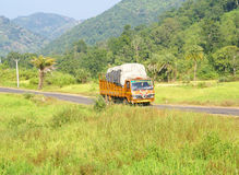Brightly colored truck passes through rice paddies Stock Image