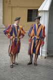 Brightly colored uniforms of Swiss Guard at Vatican City, center of Catholic Church, Rome, Italy, Europe Stock Images