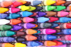 Brightly colored wax crayons Stock Photos