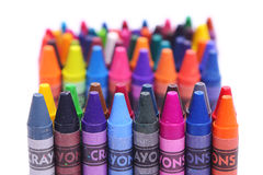Brightly colored wax crayons Stock Images