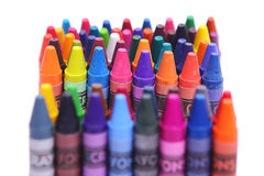 Brightly colored wax crayons Royalty Free Stock Images
