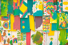 Brightly Colored Wood Shingles Of Lemonade Stand Painted By Chil Royalty Free Stock Image