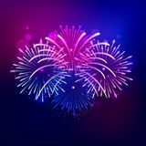 Brightly colorful firework show on night sky. Celebration background. Vector illustration Royalty Free Stock Photography