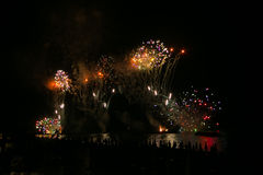Brightly colorful fireworks on the adriatic sea in the night royalty free stock photos