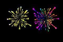 Brightly colorful fireworks on dark background.  vector illustration