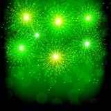 Brightly Colorful Fireworks. Green illustration of Fireworks. Holiday fireworks background. Brightly Colorful Fireworks. Holiday fireworks background. Green Stock Photography
