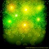 Brightly Colorful Fireworks. Green illustration of Fireworks. Holiday fireworks background. Brightly Colorful Fireworks. Holiday fireworks background. Green Stock Photo