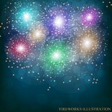 Brightly Colorful Fireworks. Illustration of Fireworks. Holiday fireworks background. Brightly Colorful Fireworks. Holiday fireworks background. Illustration of Royalty Free Stock Photography