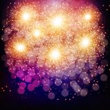 Brightly Colorful Fireworks. Lilac illustration . Brightly Colorful Fireworks. Holiday fireworks background. Lilac illustration of Fireworks Royalty Free Stock Photo