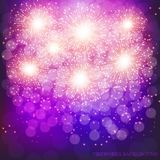 Brightly Colorful Fireworks. Lilac vector illustration . Brightly Colorful Fireworks. Holiday fireworks background. Lilac vector illustration of Fireworks Royalty Free Stock Photos