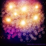 Brightly Colorful Fireworks. Lilac vector illustration . Brightly Colorful Fireworks. Holiday fireworks background. Lilac vector illustration of Fireworks Royalty Free Stock Image