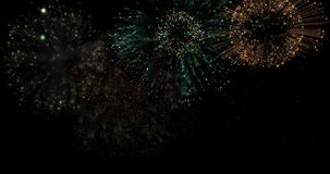 Brightly colorful fireworks for events on dark background. Brightly colorful fireworks for New Year and other events celebration on dark background. 4k stock video