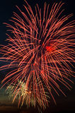 Brightly colorful fireworks  in the night sky Stock Images