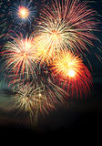 Brightly colorful fireworks in the night sky Stock Photos