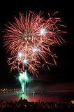 Brightly colorful fireworks  in the night sky Royalty Free Stock Photography
