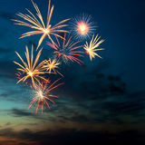 Brightly colorful fireworks  in the night sky Stock Photography