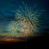 Brightly colorful fireworks  in the night sky Stock Image