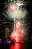 Brightly colorful fireworks in the night sky Royalty Free Stock Photo