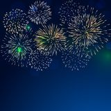 Brightly colorful fireworks with pale smoke. From fire on twilight background royalty free illustration