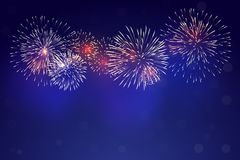Brightly colorful fireworks. With pale smoke from fire on twilight background Royalty Free Stock Photos