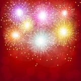 Brightly Colorful Fireworks. Red illustration of Fireworks. Holiday fireworks background. Brightly Colorful Fireworks. Holiday fireworks background. Red Stock Images