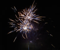 Brightly colorful fireworks and salute. Of various colors in the night sky Stock Photos