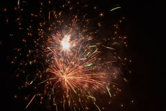 Brightly colorful fireworks and salute Stock Photos