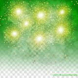 Brightly Colorful Fireworks. Transparent illustration of Fireworks. Green holiday fireworks background. Brightly Colorful Fireworks. Holiday fireworks Stock Photography