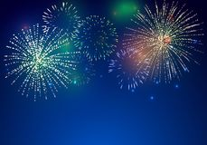 Brightly Colorful Fireworks. On twilight background Stock Images